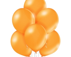 Group of orange metallic balloons