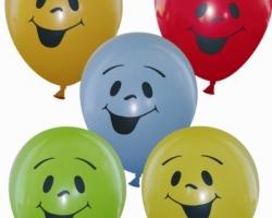 Пастелен балон с печат Усмивка-Едноцветно лого с размер B85 опаковка от 100 бр.