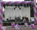 balloon arch in white pink and purple color