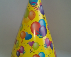 Party hat cone yellow on bubbles