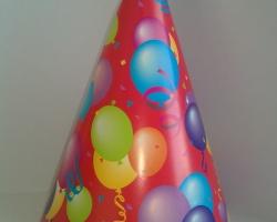 Парти шапка конус червена на балончета