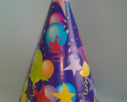 Party hat cone blue on asterisks and bubbles