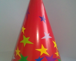 Party hat cone red of stars