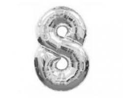 сребрист фолиев балон с цифра 8