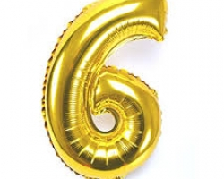 златист фолиев балон с цифра 6