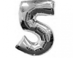 silver folio balloon with number 5