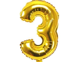 gold foil balloon with number 3