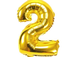 gold foil balloon with number 2