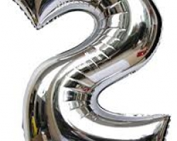 сребрист фолиев балон с цифра 2