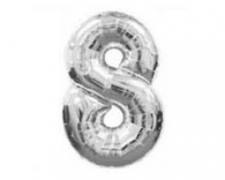 silver folio balloon suitable for helium inflation with print number 8