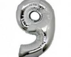 silver folio balloon suitable for helium inflation with print number 9