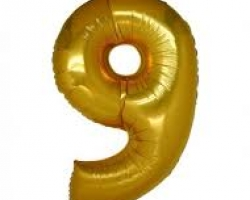 gold folio balloon suitable for helium inflation with print number 9