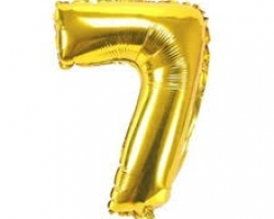 gold folio balloon suitable for helium inflation with print number 7