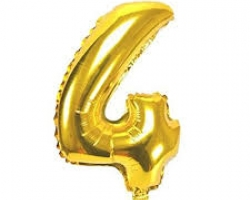 gold folio balloon suitable for helium inflation with print number 4