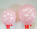 Pink balloons with size 11 and 14 inch printed all around with clowds