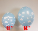 Blue balloons with size 11 and 14 inch printed all around with clowds