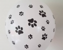 White balloon with print paws