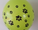 Green balloon with print paws