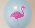 Син балон с печат фламинго