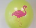 Зелен балон с печат фламинго