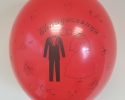 red wedding balloon with print