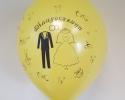 жълт сватбен балон със сватбен печат