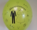 green balloon with print newlyweds