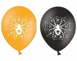 mix of round latex balloons with print for Halloween spider