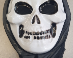 plastic mask with hood for helloween skull