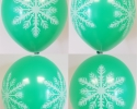 green balloon with print snowflake printed all sides