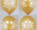 gold balloon with print on all sides with snowflake