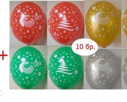 Парти Коледен сет от стойка за балони + балони с коледен печат