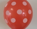 Party balloons with print polka dots coral color